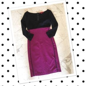 Narciso Rodriquez Black and Purple Sheath Dress XS